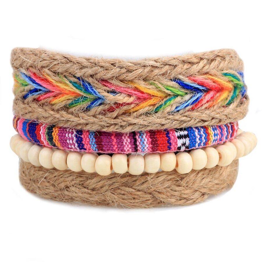 Bracelet-association-en-bois-chanvre-femme-coloré-été