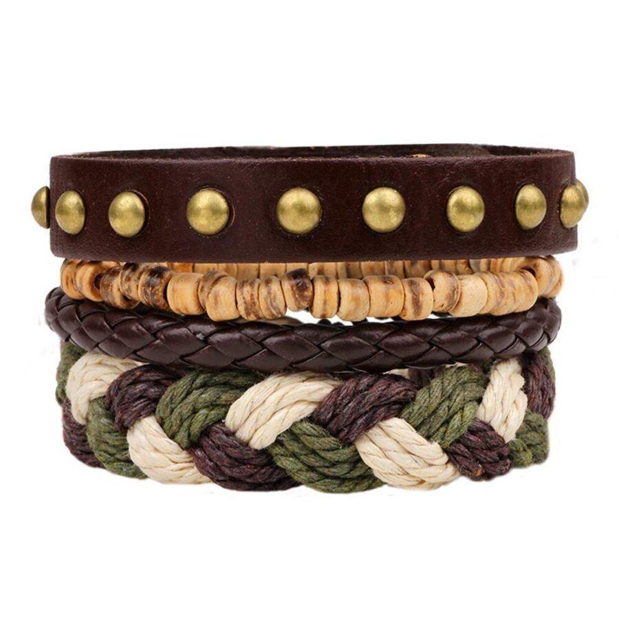 Bracelet-homme-reglable-cuir-bois-chanvre-naturel