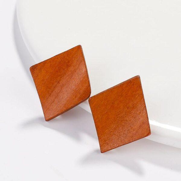 Puces d'oreilles en bois | Laëtitia 1