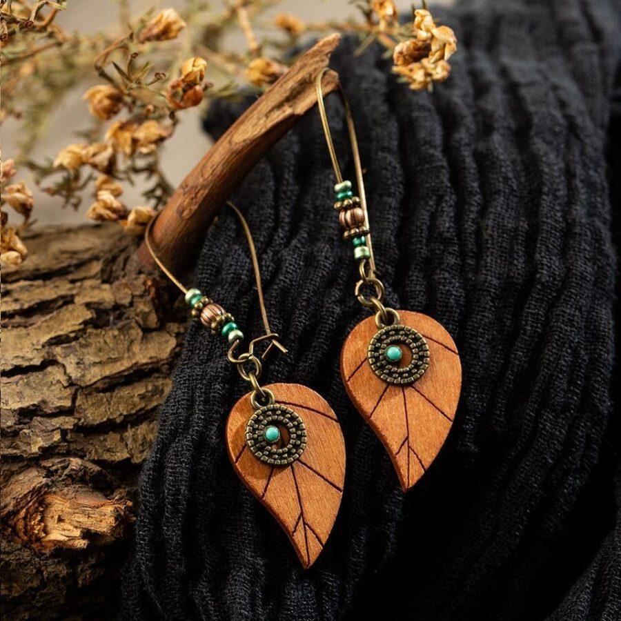 Boucles d'oreilles en bois bohème | Ahtnas 1